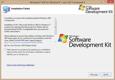 Windows SDK for Windows 7 and .NET Framework 4 error message on Windows 8 Pro system