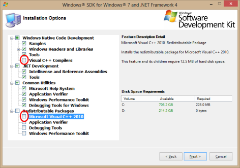Windows SDK for Windows 7 and .NET Framework 4 Component Selection