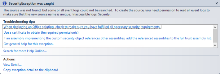 Security Exception when trying to write to Event Log