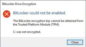 Error - BitLocker could not be enabled.